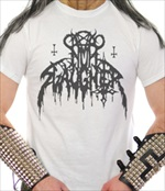 NUNSLAUGHTER - Hells Unholy Fire Logo (WHITE T-Shirt)